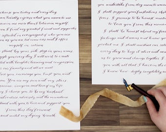 Wedding vow keepsake etsy his and her wedding vows calligraphy wedding vows custom couple wedding gift wedding junglespirit Image collections