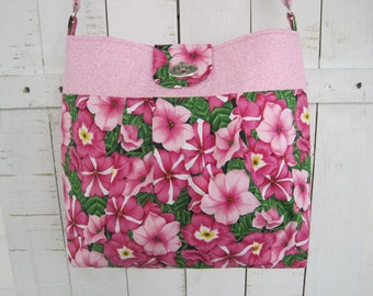 Handbag, Fabric, Purse, Pink Petunia Design, Cross Body, shoulder bag, pleated, twist lock,  handmade, fashion accessory, gift