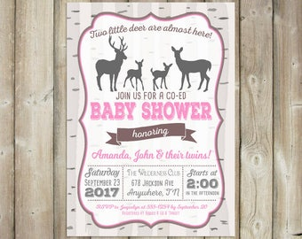 Twins Baby Shower Invitation - Two Little Deer - DIGITAL FILE