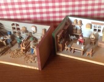 Vintage German Dioramas, vintage Dioramas, German Democratic Republic Diorama