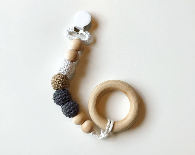 NomiLu Dreamer Clip -- Crocheted Beads Pacifier Clip -- Eco-friendly pacifier clip -- crocheted wooden beads -- Baby Teether