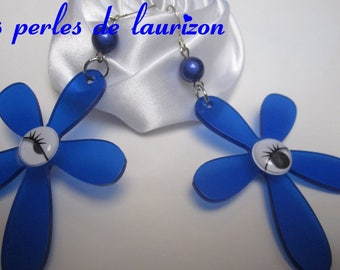 blue neon Flower Earrings