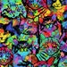 "Fabric ""Splatter Cats"" Psychedelic Rainbow Cat Print  - By the Yard"