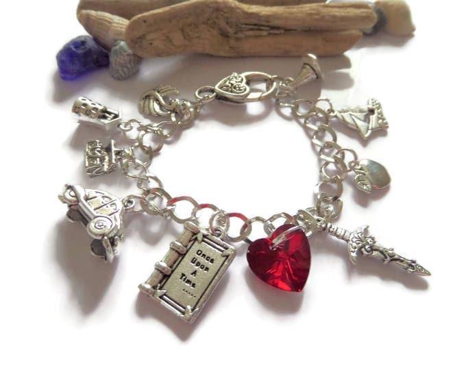 once upon a time charm bracelet, emma swan, dark one, rumple, hook, once upon a time, fairy tale, ouat bracelet, fan gift, regina jewellery