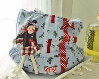 handmade purse girl spirit used jeans, cherry pattern, doll
