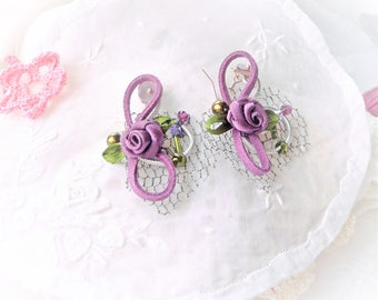 retro boho, purple and silver stud earring 925 leather, Crystal, swarovski, metallic fabric