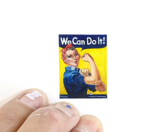 Print of miniature watercolor painting of Rosie the riveter poster.  giclee print of war poster
