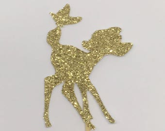 Bambi cupcake toppers, baby shower, cute deer and butterfly, Disney theme topper, gold silver glitter, unique custom topper ideas, classic