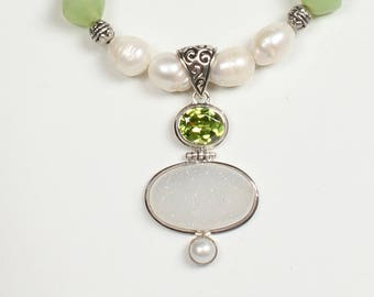 Pearls, Peridot and Sterling Silver Necklace