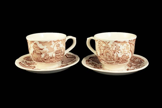 Cups and Saucers, Alfred Meakin, Fair Winds, Brown, Staffordshire, Transferware, Set of 2