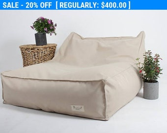 BeanBag Chair for outdoor,outdoor furniture,outdoor floor cushion, pool side. beige beanbag,water proof, Bean Bag for the garden.
