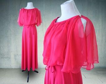 1970s Maxi Dress Hot Pink Butterfly Sleeves Chiffon Cold Shoulder Hostess Dress