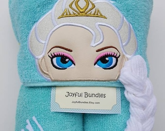 Hooded Towel, Ice Queen Hooded Towel, Elsa Towel, Elsa Bath Towel,  Elsa Pool Towel, Elsa Hooded Towel, Ice Queen Elsa Hooded Towel