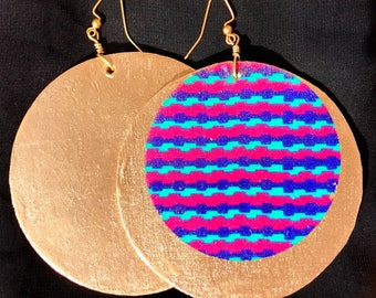 Large statement earrings in genuine African fabrics (blue) and gold or silver