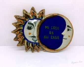 Vintage Mi Casa es Su Casa Quote Clay Plaque Mexico Souvenir