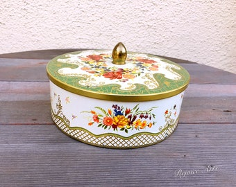 Vintage Floral Round Tin Made In England
