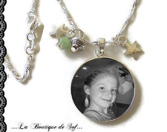 To personalize * 925 Sterling Silver Chain: 25 mm cabochon necklace