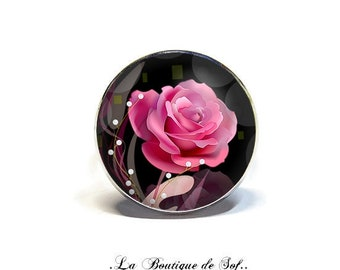 Adjustable ring with cabochon 18 mm * pink * (060218)