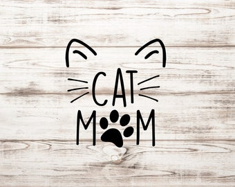 Cat Mom Vinyl Decal | Cat Mom Decal | Car Decal | Cat Decal | Pet Decal | Paw Decal
