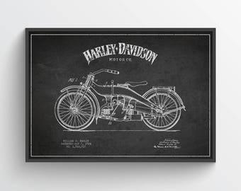 1924 Harley Davidson Patent Wall Art Poster, Harley Davidson Poster, Harley Davidson Print, Home Decor, Gift Idea, TRBM06P