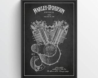 1919 Harley Davidson Engine Patent Wall Art Poster, Harley Davidson Poster, Harley Davidson Print, Home Decor, Gift Idea, TRBM05P