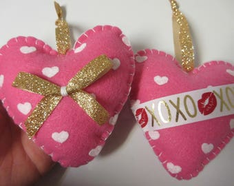 2 Pink Heart Felt Valentine Ornaments Valentine Decor Valentineu0027s Day  Ornaments Felt Valentine