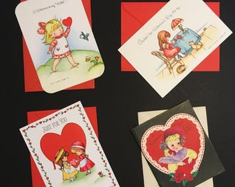 Vintage Valentine Greeting Cards Hallmark Joan Walsh Anglund American Greetings Card for Sister Unused with Envelopes Made in USA