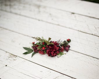 Flower quarter wreath summer red burgundy green floral hair accessories flowers wedding bridal fairy hair flowers