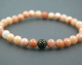 Pink aventurine stacking stretch bracelet with antiqued brass plated Casbah accent bead, gratitude bead bracelet
