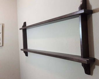 Large Vintage Collectible Plate Wall Shelf, 2 Tier Mission Style