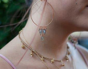 Labradorite hoop earrings, large hoop earrings, large gemstone hoops, copper hoop earrings, labradorite dangle earrings, gemstone hoops