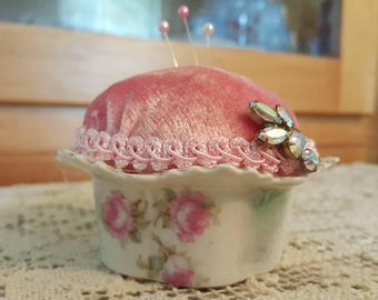 Victorian Pincushion, Pink and Green Porcelain Cup
