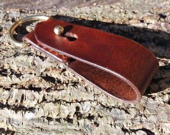 Leather Belt Loop for Keys/Sheath - Dark Brown