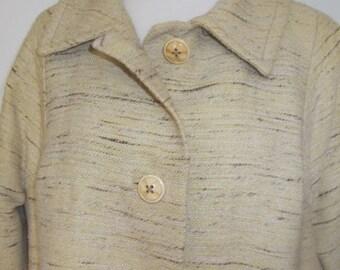 summer sale Vintage womens coat 50s 60s lemon tweed wool swing coat by Eric Leigh Made in England size xlarge