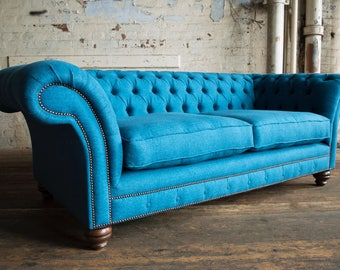 Vintage Bright Teal velvet Plush Chesterfield 3 seat. British handmade. Top quality. Bespoke. FREE uk delivery.