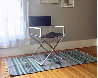 Mid Century Modern Chrome Directors Chair. Chrome & Black Leather Office Side Chair
