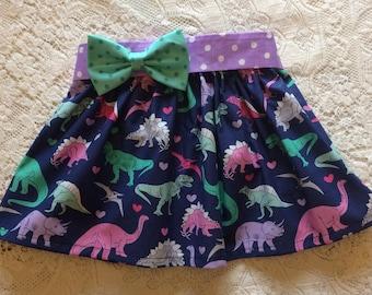 Baby Toddler Girl Dinosaur Heart Purple & Pink Elastic Waist Twirl Skirt