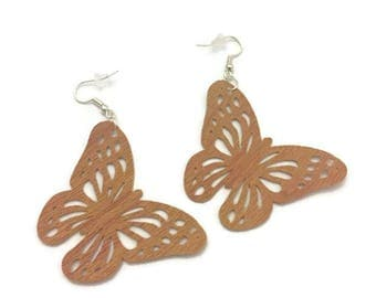 Leather Butterfly Cut Out Earrings, Light Brown/Golden Brown Leather Butterfly Earrings, Silver Plate Earring Wires with Backings, 2 inches