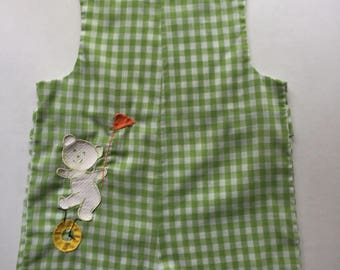Vintage 1970's Green Gingham Shortall Romper with Teddy Bear 24 months