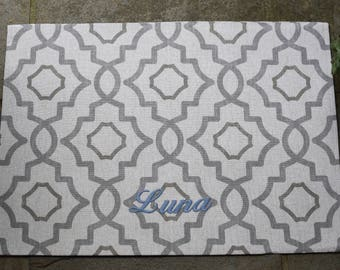 Personalized Grey and Tan Dog Placemat || Geometric Food + Water Bowl Mat || Waterproof Personalize Pet Gift || Custom by Three Spoiled Dogs
