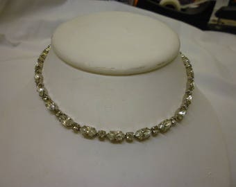 J10 Vintage Clear Rhinestone Choker Necklace.