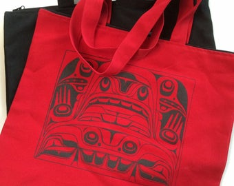 1 of 2 Haida Northwest Native Canvas Tote Bags in Red or Black