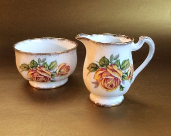Paragon or Royal Standard Romany Rose English Bone China Oval Cream and Sugar