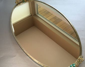"Large 18"" Vintage Vanity Mirror Gold and Jade Handles"