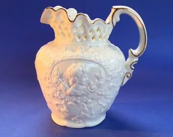 Antique White Victorian Porcelain Lace Pitcher Pottery