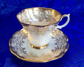 Royal Albert Heavy Gold Chintz Floral Bone China Tea Cup and Saucer England