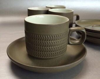 Set of 4 Vintage Mid Century Denby Langley Camelot Dark Brown Matte Cup Saucer