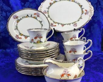 21 Pieces Set Paragon Art Deco Chinese Garden c1920 TeaCup Snack Plate Platter