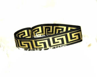 Diva Black and Gold Greek Patterned Stretch Headband, Customizations available