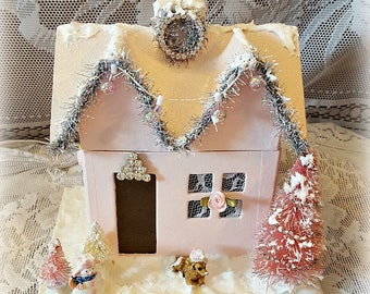 vintage inspired putz house shabby chic pale pink christmas snow house christmas decoration christmas
